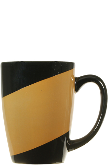 16 oz new haven challenger mug - black with burnt orange accent band