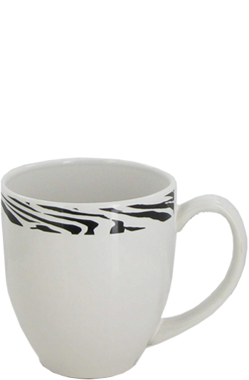 15 oz bistro coffee mug - white/zebra