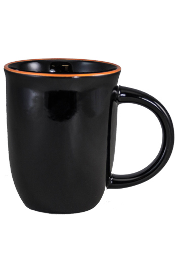 14 oz Salem Black Ceramic mug with Orange accent color halo