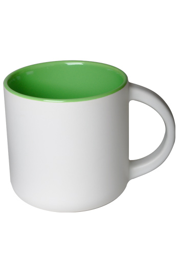 14 oz Sedona ceramic mug, 2-tone, Matte white out and Gloss green interior