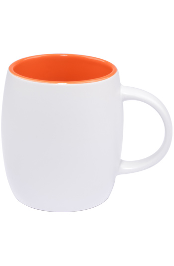 14 oz Vero ceramic mug, 2-tone, Silk white out and Gloss orange interior