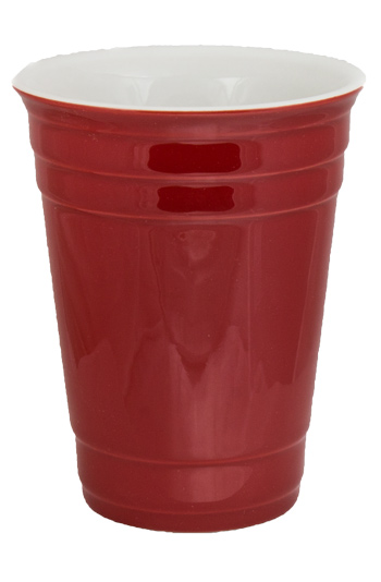 14 oz Waukegan Red Ceramic party cup glass