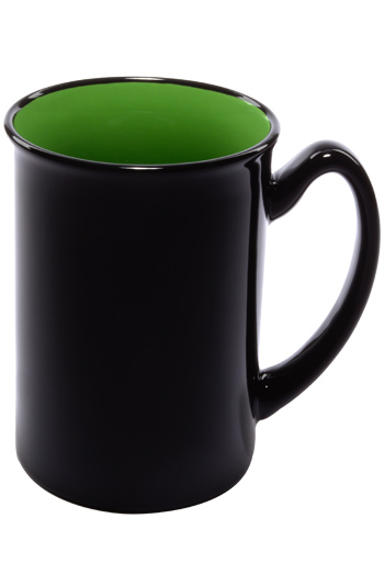 16 oz Marco two-tone ceramic mug - black gloss out with lime green interior