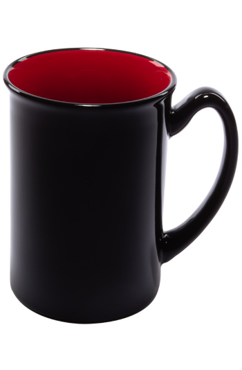 16 oz Marco two-tone ceramic mug - black gloss out with red interior
