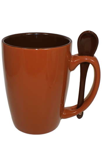 16 oz Rust Reading Spooner Mug Chocolate Ceramic Spoon Inserted in Handle