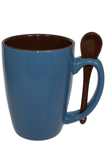 16 oz Steel Blue Reading Spooner Mug Chocolate Ceramic Spoon Inserted in Handle