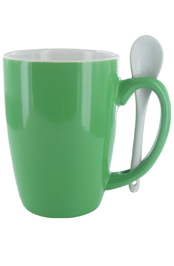 16 oz Celestial Green Out, White In Spooner Mug. White Ceramic Spoon Inserted in Handle