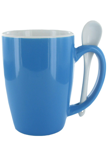 16 oz Celestial Blue Out, White In Spooner Mug. White Ceramic Spoon Inserted in Handle