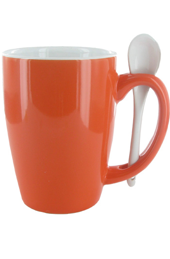 16 oz Orange Out, White In Spooner Mug. White Ceramic Spoon Inserted in Handle
