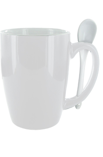 16 oz White Spooner Mug. White Ceramic Spoon Inserted in Handle