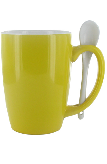 16 oz Bright Yellow Out, White In Spooner Mug. White Ceramic Spoon Inserted in Handle