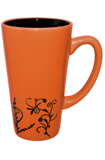16 oz Apricot Orange Vineland Ceramic Funnel Mug with embossed Vine Detail Design