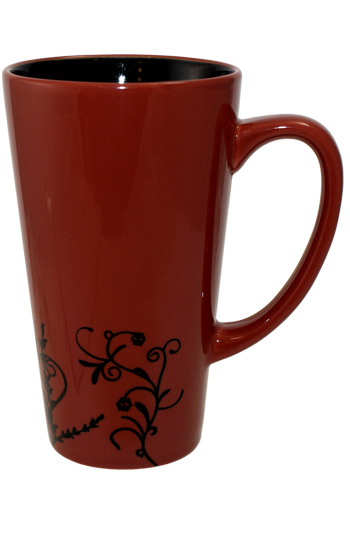 16 oz Pomogranate Red Vineland Ceramic Funnel Mug with embossed Vine Detail Design