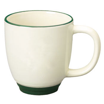 14 oz new orleans mug - beige body - green