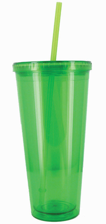 24 oz Apple Green Grand journey travel cup with lid and straw