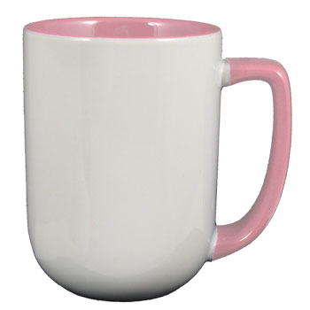 17 oz bakersfield coffee mug - pink in & handle