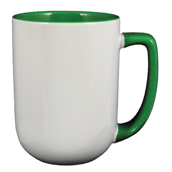17 oz bakersfield coffee mug - green in & handle