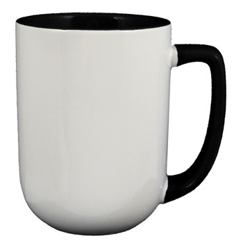 17 oz bakersfield coffee mug - black in & handle