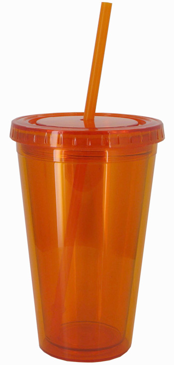 16 oz Tangerine journey travel cup with lid and straw