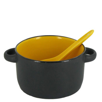 12.5 oz hilo bowl with spoon - yellow