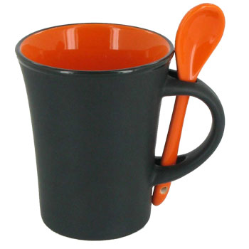 9 oz hilo mug with spoon - orange