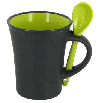 9 oz hilo mug with spoon - rye green