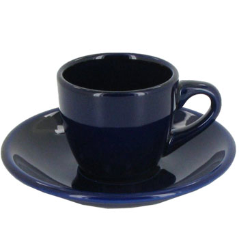3.5 oz espresso cup with saucer - cobalt blue