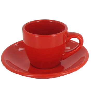 3.5 oz espresso cup with saucer - crimson red