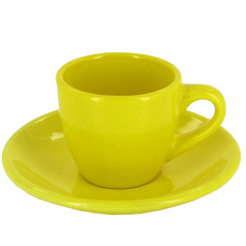 3.5 oz espresso cup with saucer - yellow