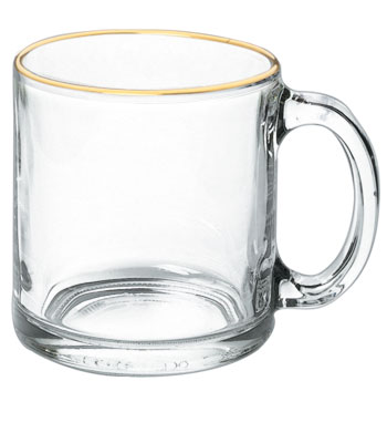 13 oz Libbey clear glass mug -MADE IN USA