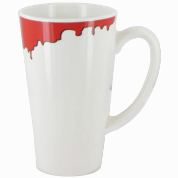 16 oz cody glossy funnel latte mug - white with red drip accent