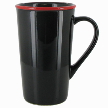16 oz Horizon Ceramic Mug, Black with Red accent colored rim