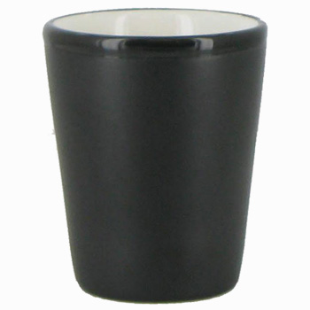 1 5 Oz Ceramic Shot Glass Black Matte Out White Gloss