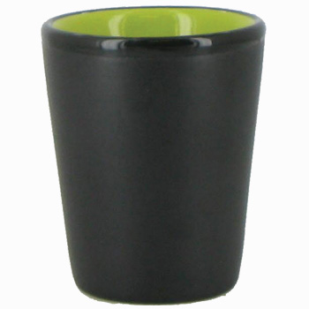 1.5 oz ceramic shot glass - Black matte out, Lime Green gloss in