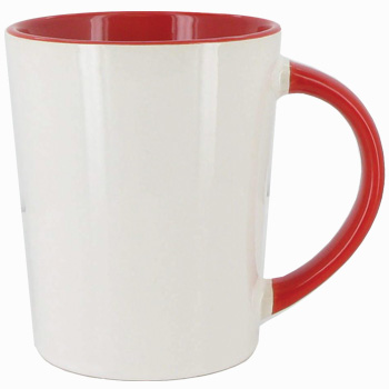 12 oz Sorrento Ceramic Mug - White out with color coordinated interior and handle