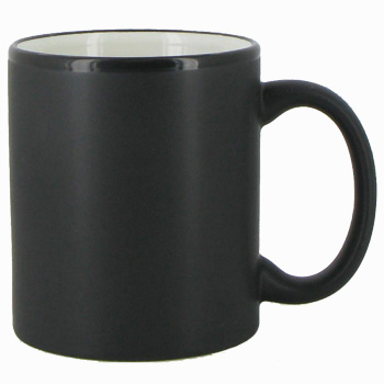 11 Oz Hilo C Handle Coffee Mug Matte Black Out White In