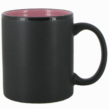 11 oz Hilo c-handle coffee mug - matte black out, Pink In