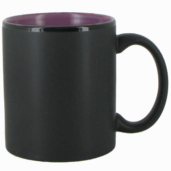 11 oz Hilo c-handle coffee mug - matte black out, Lilac In
