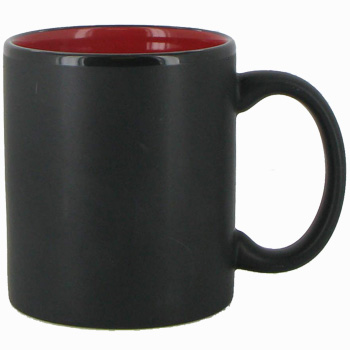 11 oz Hilo c-handle coffee mug - matte black out, Red In