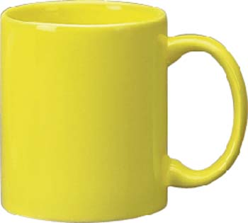 11 oz c - handle mug, yellow-vitrified