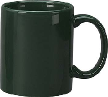 11 oz c - handle mug, green-vitrified