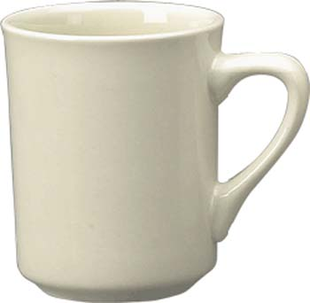 8 1/2 oz   toledo mug, european white - vitrified