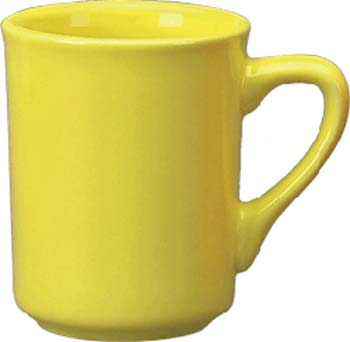 8 1/2 oz   toledo mug, yellow - vitrified