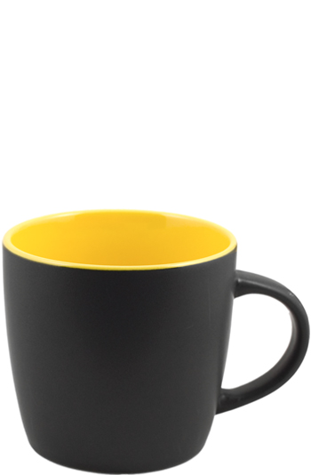 12 oz effect matte finish mug - black/yellow
