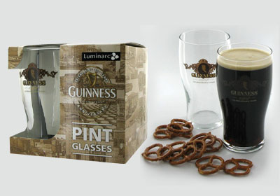 4-pc 16 oz Guinness pint glasses