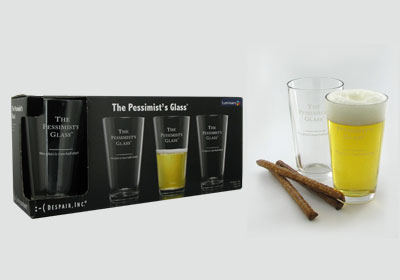 4-pc 16 oz The Pessimist's Glass� pub glasses