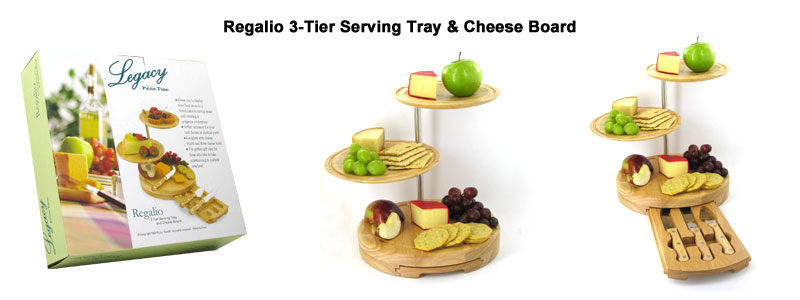 regalio 3-tier serving tray & cheese board